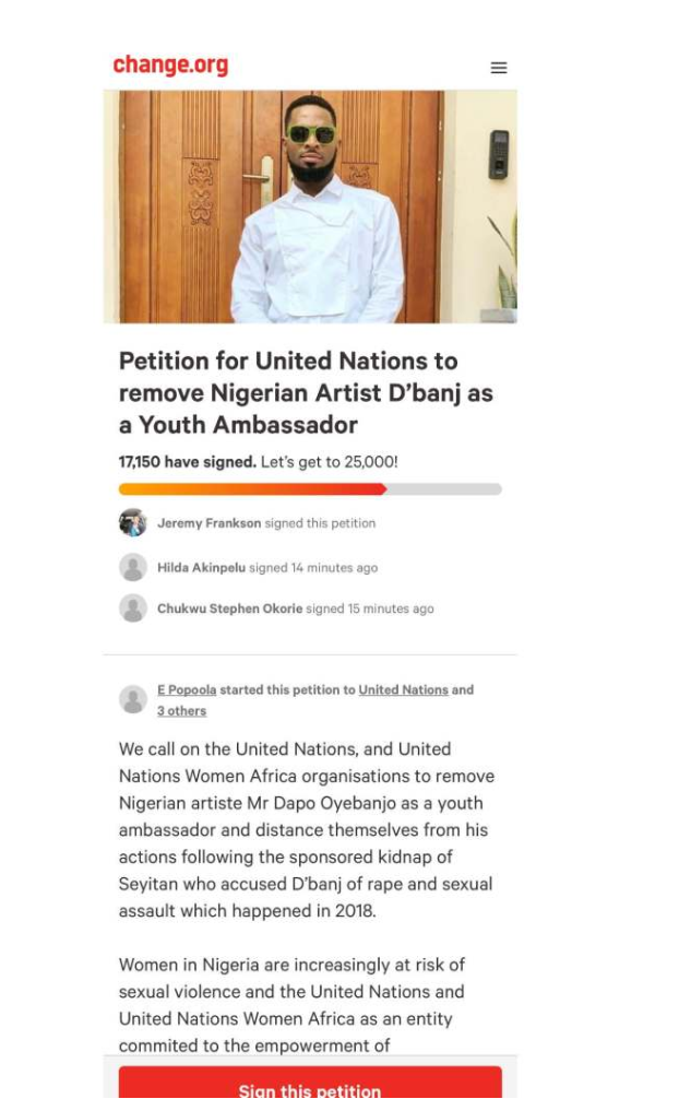 Rape allegation: Over 17,000 sign petition for removal of D'banj as UN ambassador 4