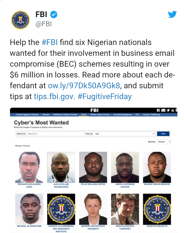 US Government declares Six Nigerians wanted for Cyber Crime 4