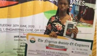 Photo of Nigerian Society of Engineers awards Student with highest JAMB score N16M