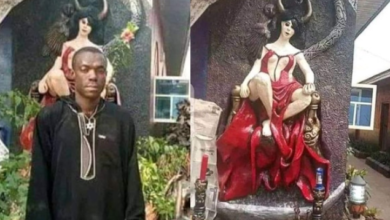Photo of Youths demolish Church of Satan in Abia State, Police arrest founder (Photos)