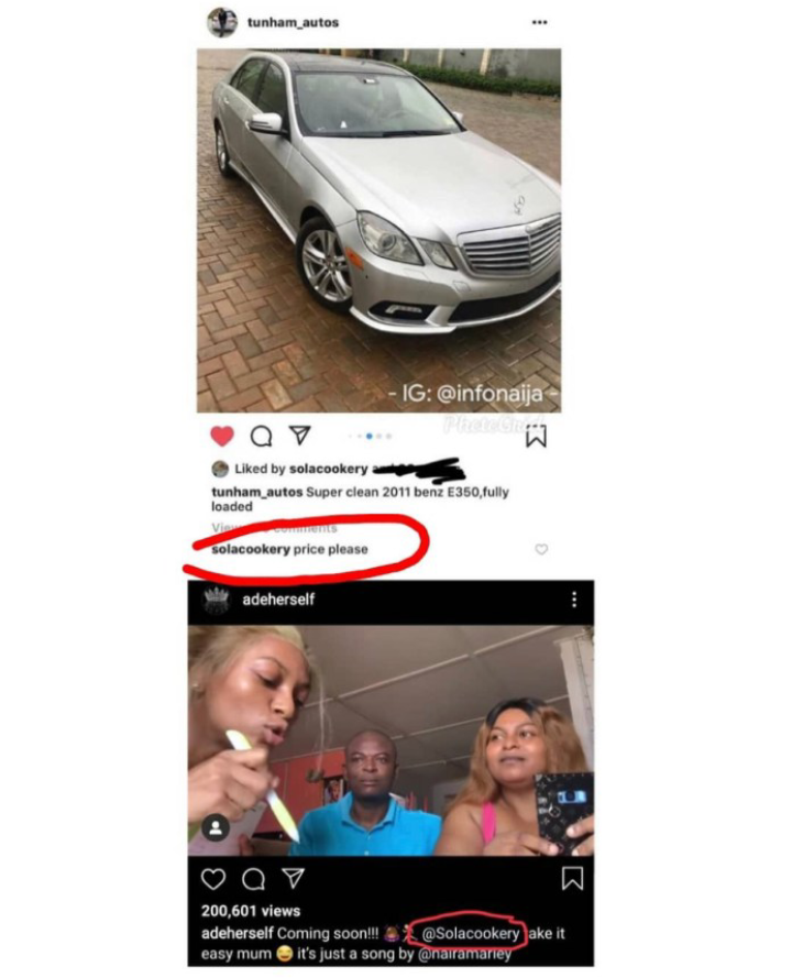 Adeherself's Mom caught pricing Benz on Instagram while her daughter remains in EFCC custody 4