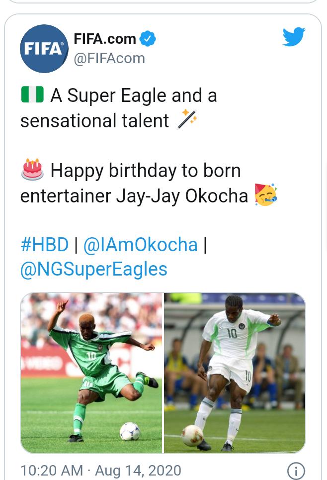 Football World celebrates Jay Jay Okocha at 47 10