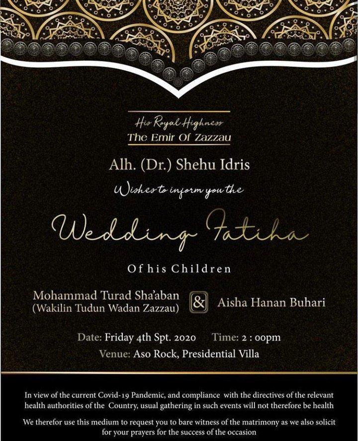 Wedding invitation of President Buhari's daughter, Hanan to Turad Sha'aban is released (Photo) 4