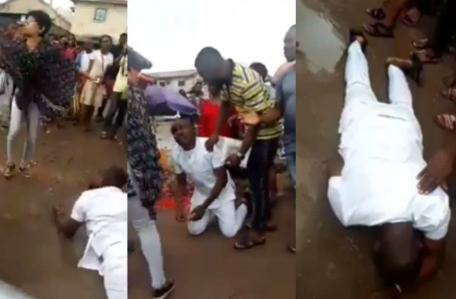 Nigerian Man weeps and rolls on mud after his girlfriend rejected his proposal in Owerri (Video) 1