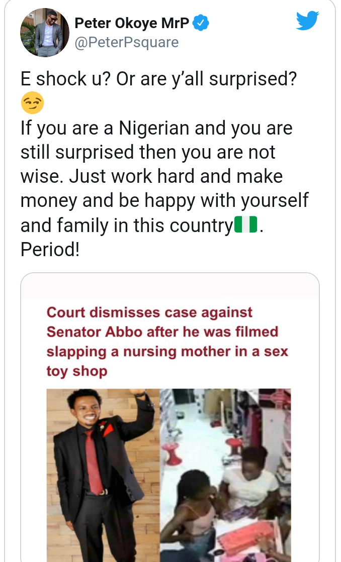 "Senator Abbo: ""If you are a Nigerian and you are surprised then you are not wise"" - Peter Okoye 2"