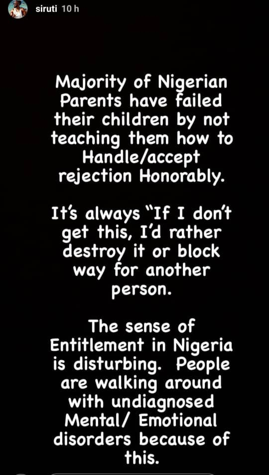 Majority of Nigerian Parents do not teach their children how to accept rejection honorably - Uti Nwachukwu 4