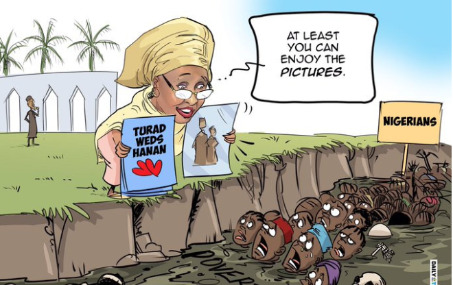 Aisha's response on my cartoon about her daughter's wedding shows those in power see and listen to us - Mustapha Bulama 1