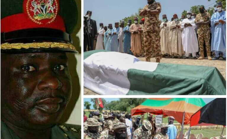 Photo of Army commander killed in Boko Haram ambush laid to rest. Borno gov gifts his widow N20m (photos)