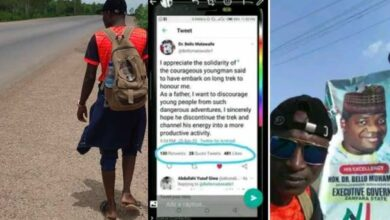 """Photo of """"Channel your energy into a more productive activity"""" – Gov Matawalle stops man trekking from Kaduna to Zamfara for him"""