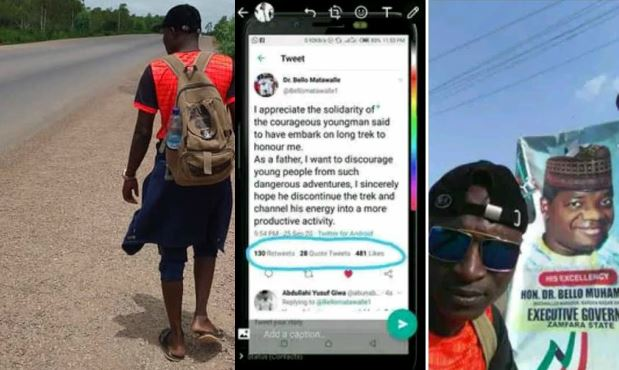 """""""Channel your energy into a more productive activity"""" - Gov Matawalle stops man trekking from Kaduna to Zamfara for him 1"""