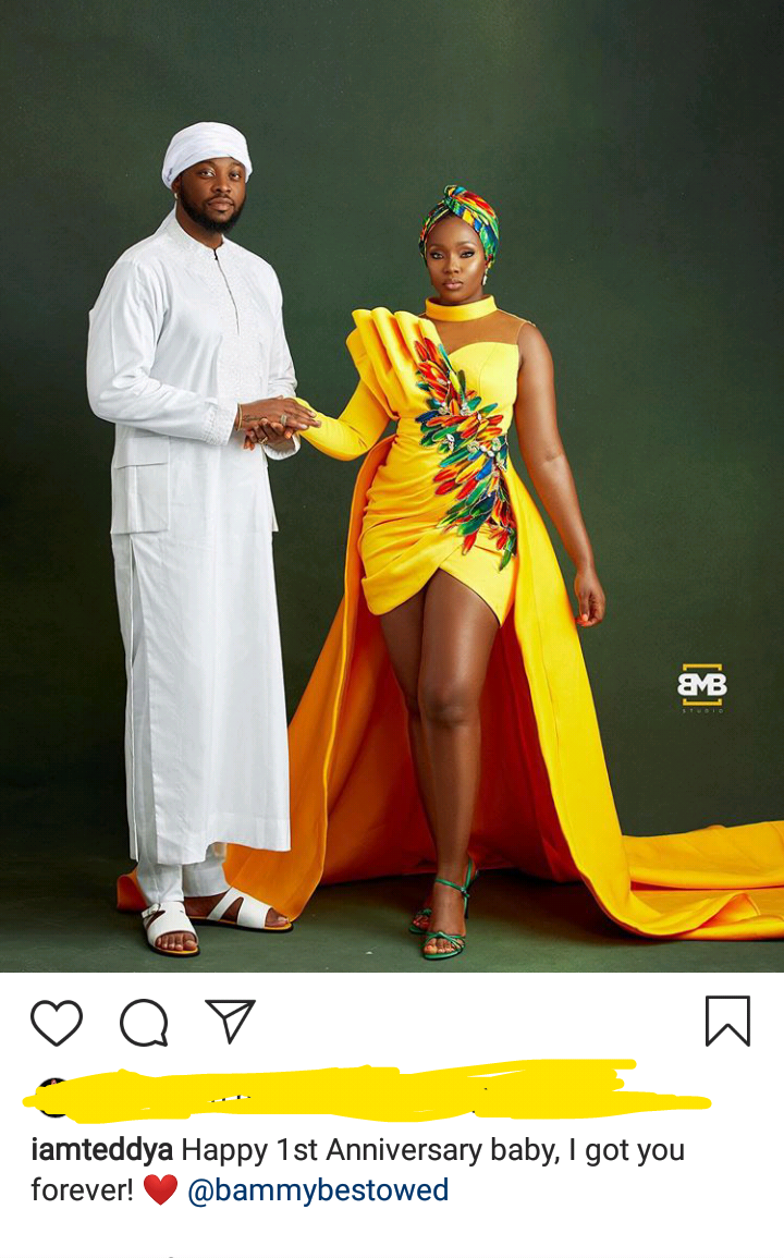 BBNaija couple, Teddy A and Bambam celebrate one year anniversary 4