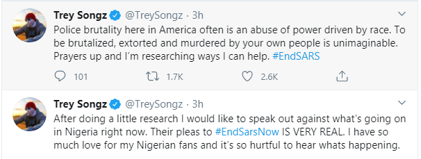 Trey Songz, Big Sean, Chance The Rapper, Estelle, Nasty C and other International celebrities react to the #EndSARS protest 14