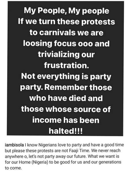 EndSARS Protest: If we turn these protests to carnivals, we are trivializing our frustration - Actress Bisola warns 4