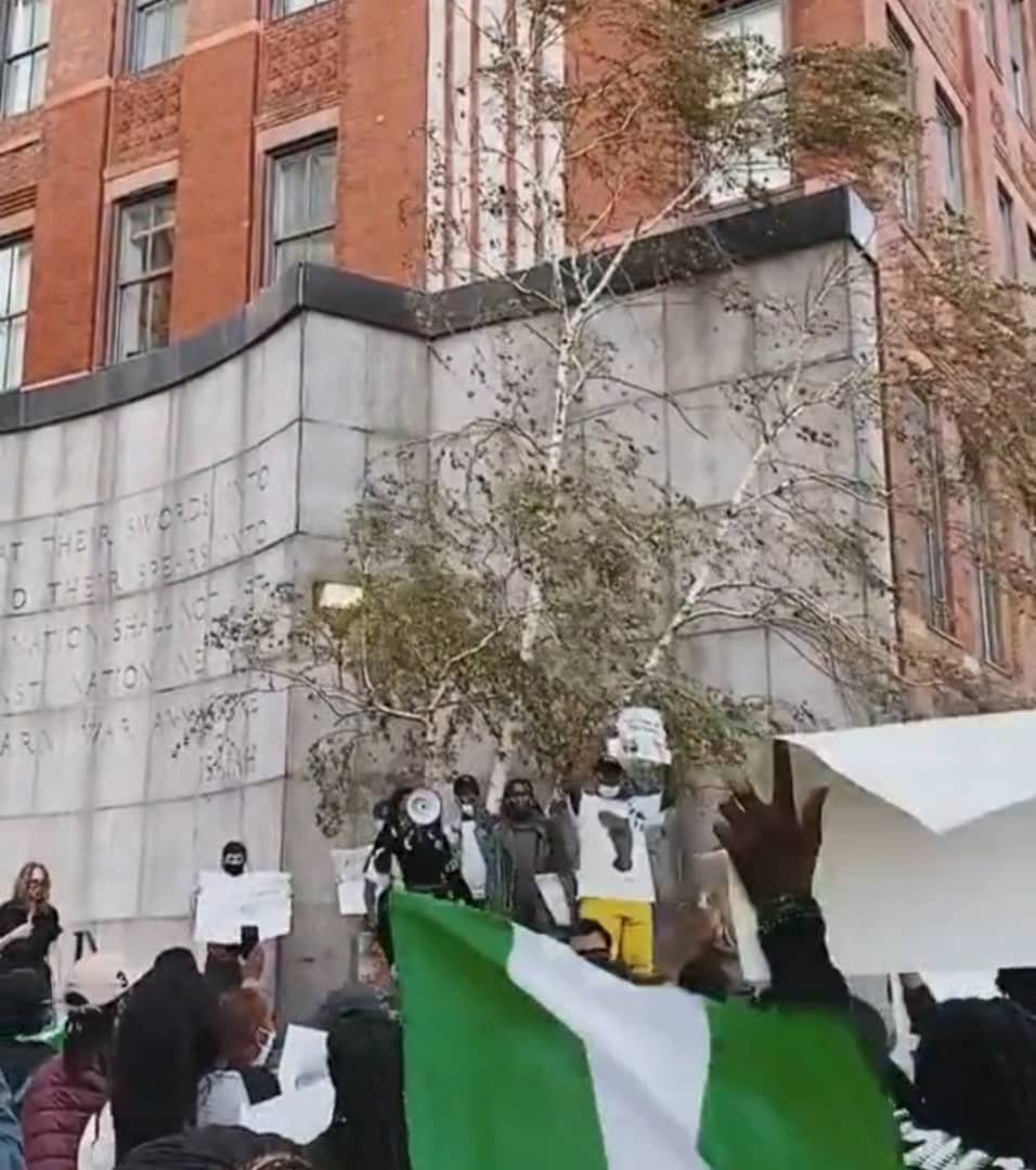 Nigerians in New York stage EndSARS protest (Photos) 13