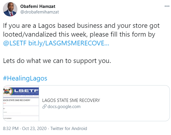 Lagos Government to support business owners whose stores were vandalised 4