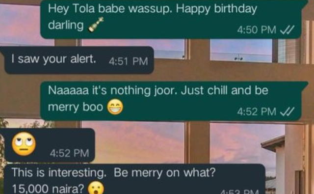 Photo of Lady Blasts her Boyfriend for gifting her N15, 000 to celebrate her Birthday (Photo)
