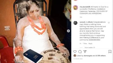 Photo of Regina Daniels' mom, Rita Daniels obtains chieftaincy title (Photos)