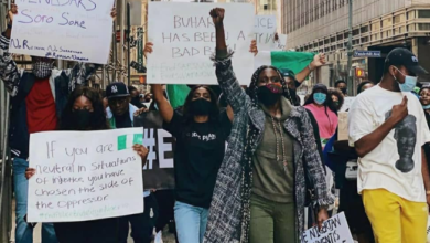 Photo of Nigerians in New York stage EndSARS protest (Photos)