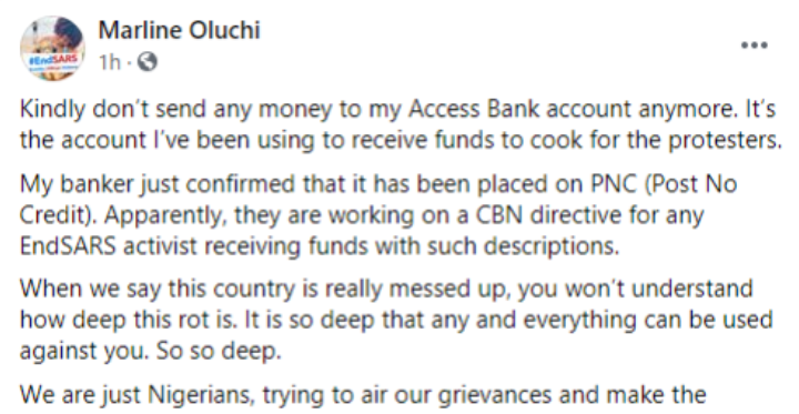 Nigerian lady who has been cooking for #EndSARS protesters alleges that her account has been placed on Post No Credit in line with CBN directive (Photo) 3