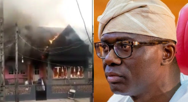 Angry youths burn down Sanwo-Olu's mother's house 1