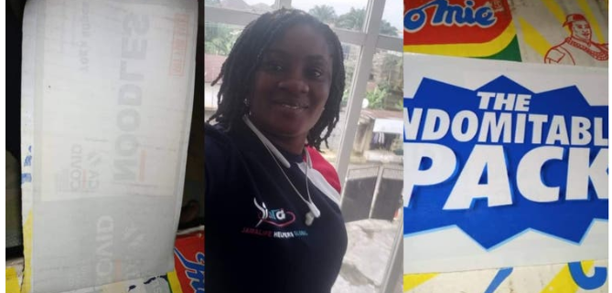 Lady buys carton of indomie with COVID-19 sticker in Akwa Ibom (Photo) 3