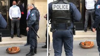 Photo of French police shocked after 'ritual sacrifice' is placed in front of the Nigerian Embassy in France
