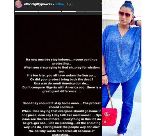 BBNaija's Gifty mocks End SARS protesters; accuses them of 'wasting lives all because of protesting' 1