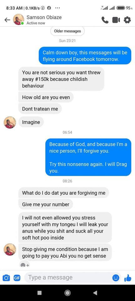 Lady shares screenshots of chat with man who offered her 150k per day to eat her faeces (photos) 16