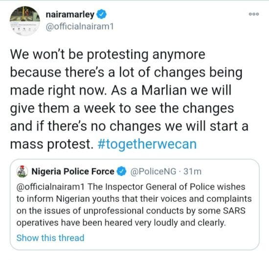 Naira Marley cancels EndSARS Protest, gives Police one Week to see changes 6