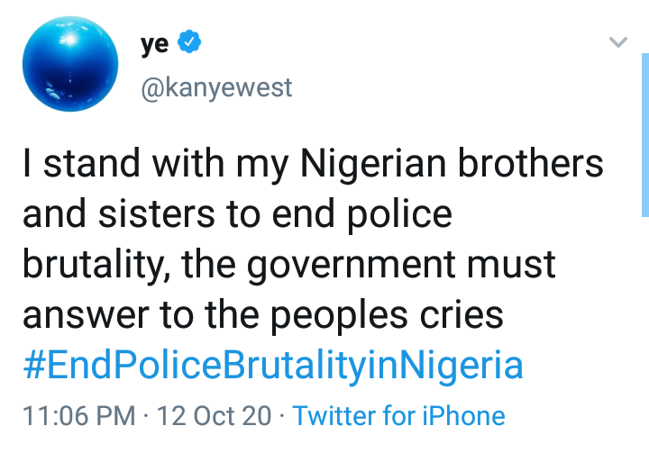 American Rapper, Kanye West joins #EndSARS protest 4