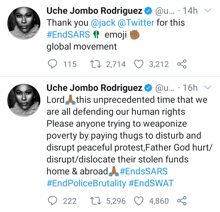 #EndSARS: 'Anyone Paying Thugs To Disrupt Protest Will Lose Their Funds - Uche Jombo prays 4