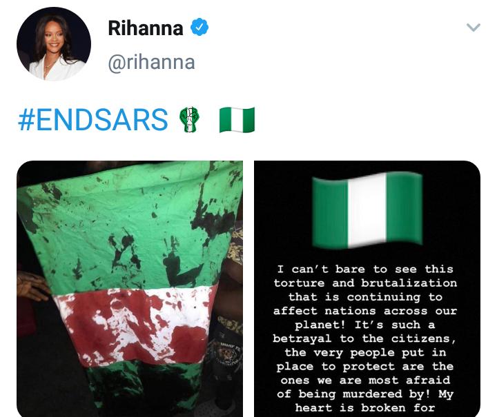 EndSARS: My heart is broken for Nigeria - Rihanna 4