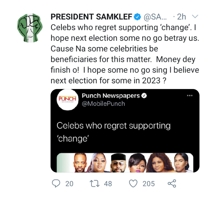 'I hope some celebrities don't betray us in next elections' – Samklef 4