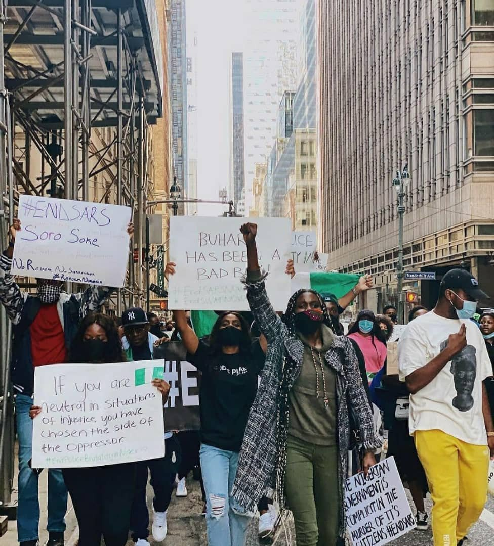 Nigerians in New York stage EndSARS protest (Photos) 10