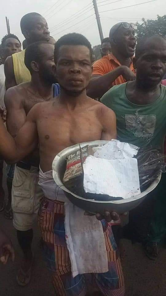 Pastor in Anambra State stripped and paraded after he was allegedly caught with charms (Photos) 11