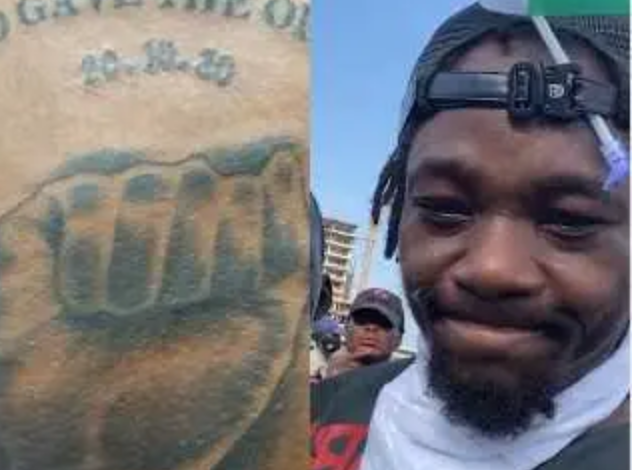 """""""Who gave the order?"""" - Nigerian Man tattoos date of Lekki tollgate shooting on his chest (Photo) 3"""