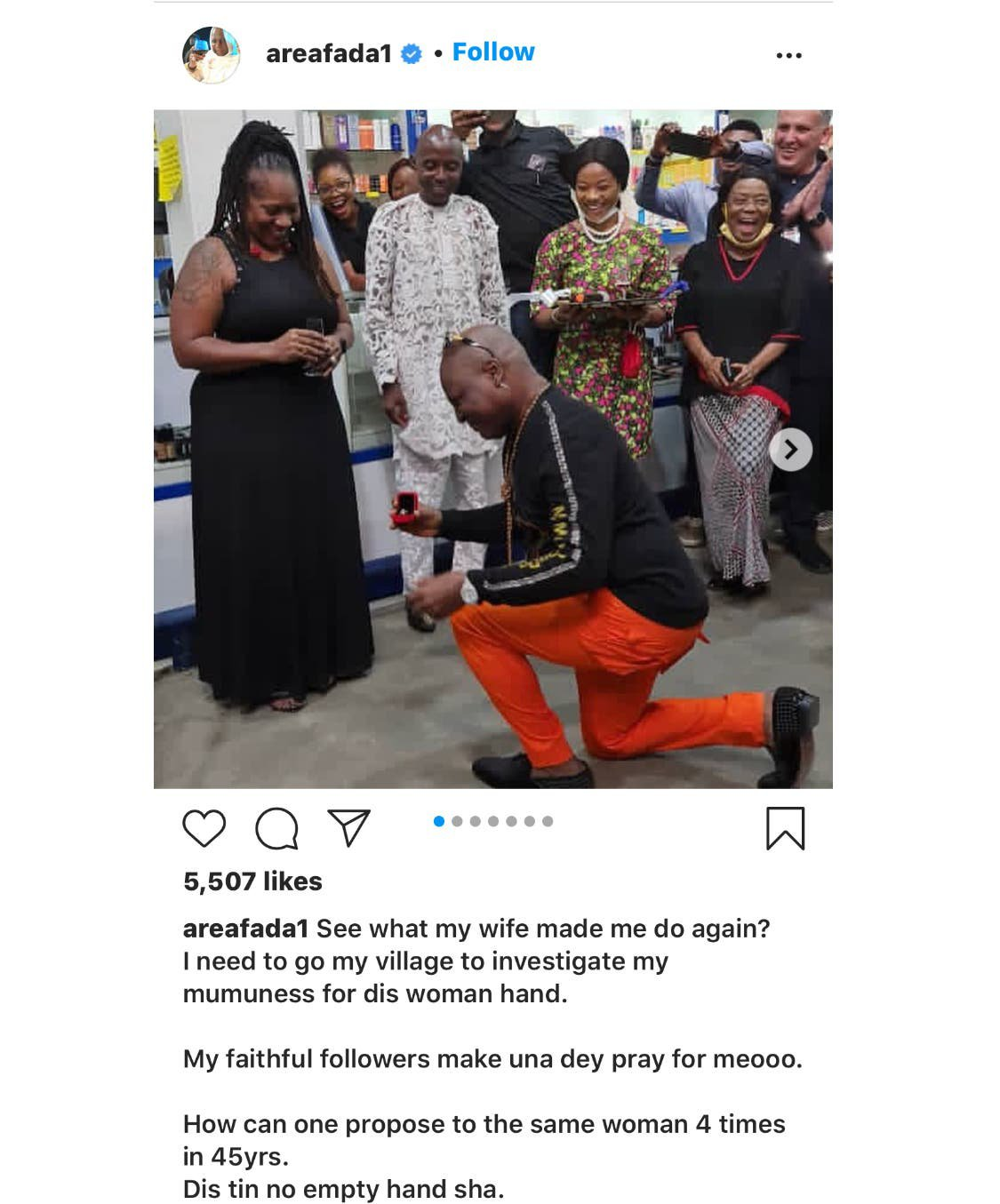Charly Boy proposes to his Wife for the 4th time after 45 Years of Marriage 8