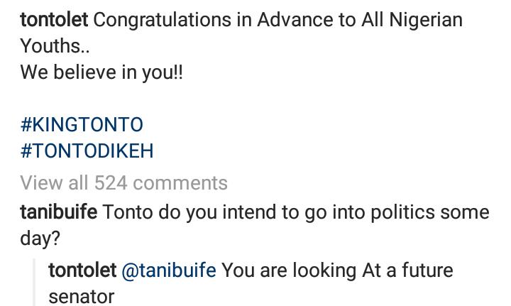 Actress, Tonto Dikeh reveals interest in running for senatorial position 7
