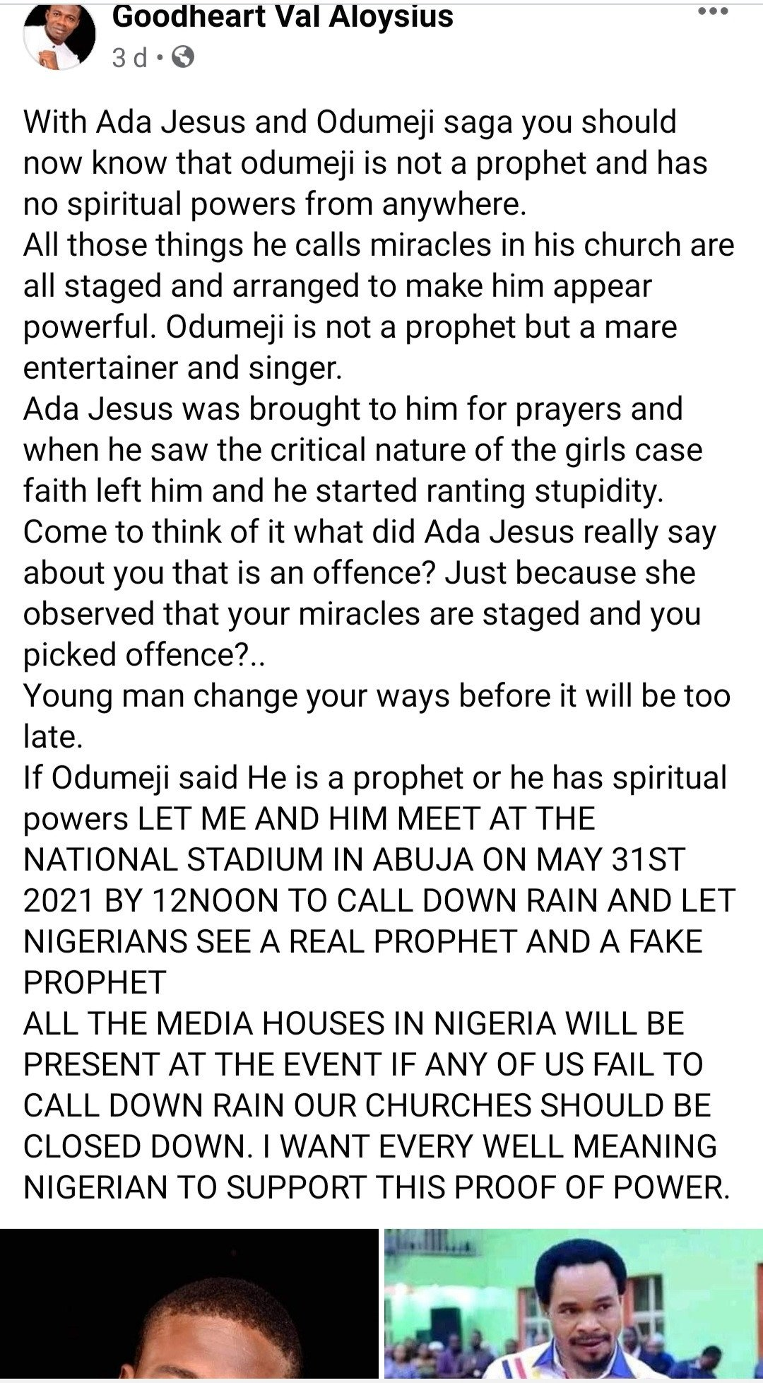 Pastor challenges Odumeje to a spiritual battle, invites the public to come and watch 4