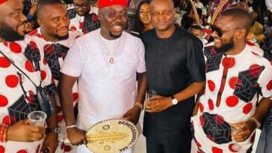 Photo of DCP Abba Kyari poses with Obi Cubana at his mother's burial (photos)